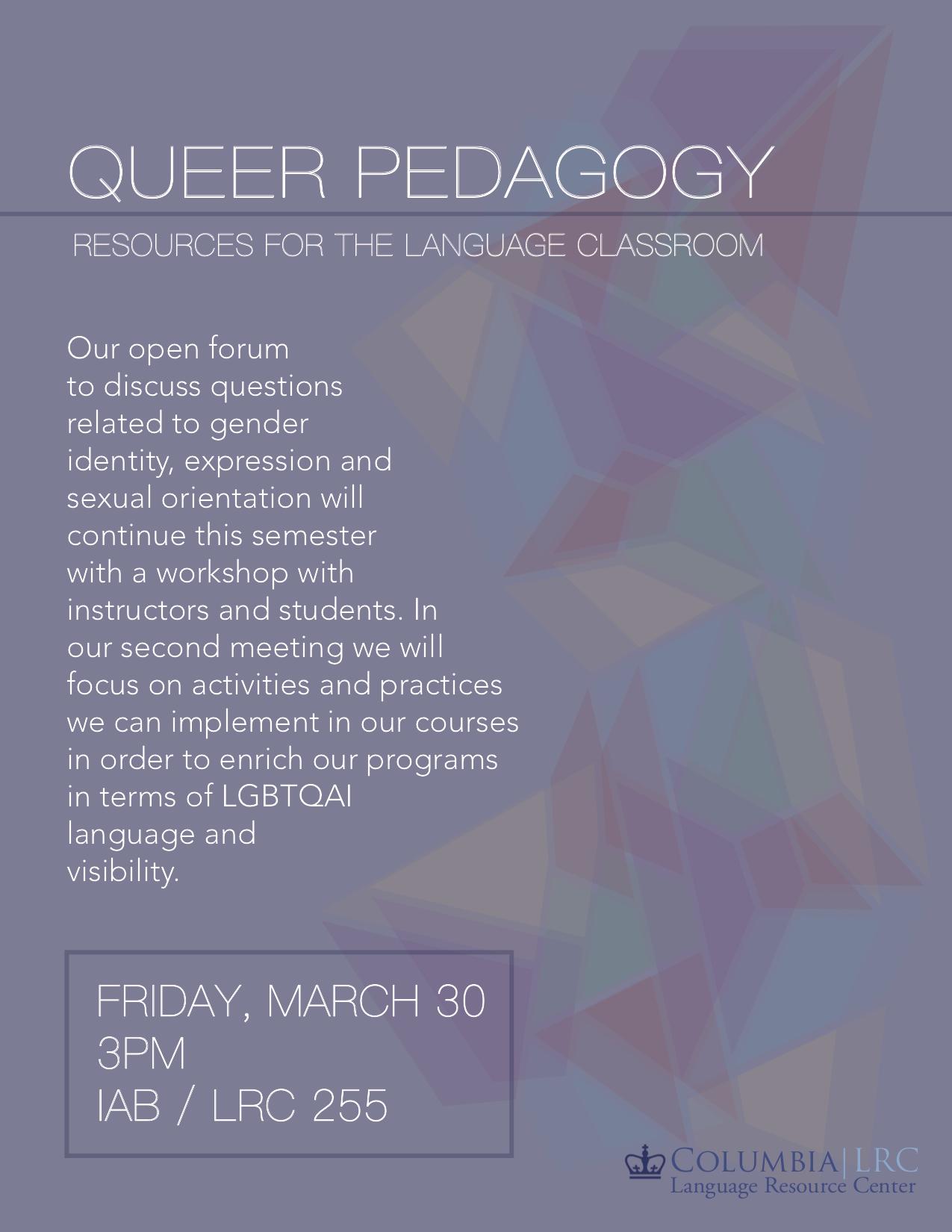 Queer Pedagogies Flyer